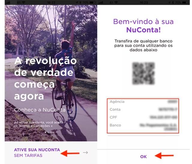 Ação para criar uma NuConta do Nubank pelo celular — Foto: Reprodução/Marvin Costa