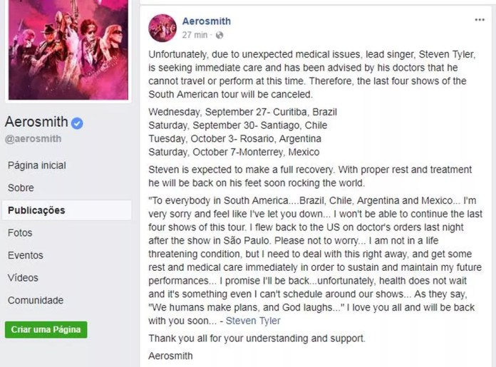 A banda lamentou o cancelamento dos shows, no Facebook (Foto: Reprodução/Facebook)