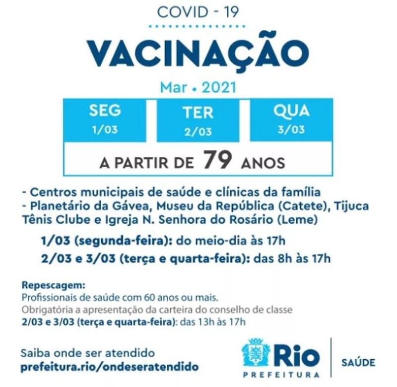 Calendário de vacinação foi divulgado pelo prefeito Eduardo Paes nas redes sociais — Foto: Prefeitura do Rio