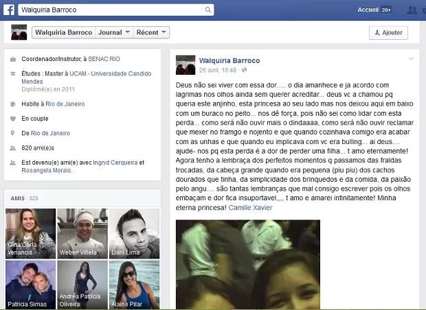 Publicação em rede social lamenta morte de Camille Xavier (Foto: Facebook/Reprodução)