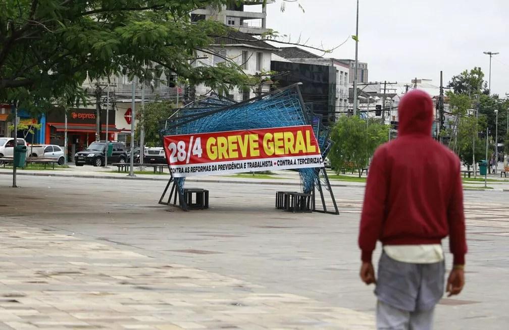 Largo da Batata, em São Paulo, durante dia de greve geral em SP (Foto: Marcelo Brandt/G1)