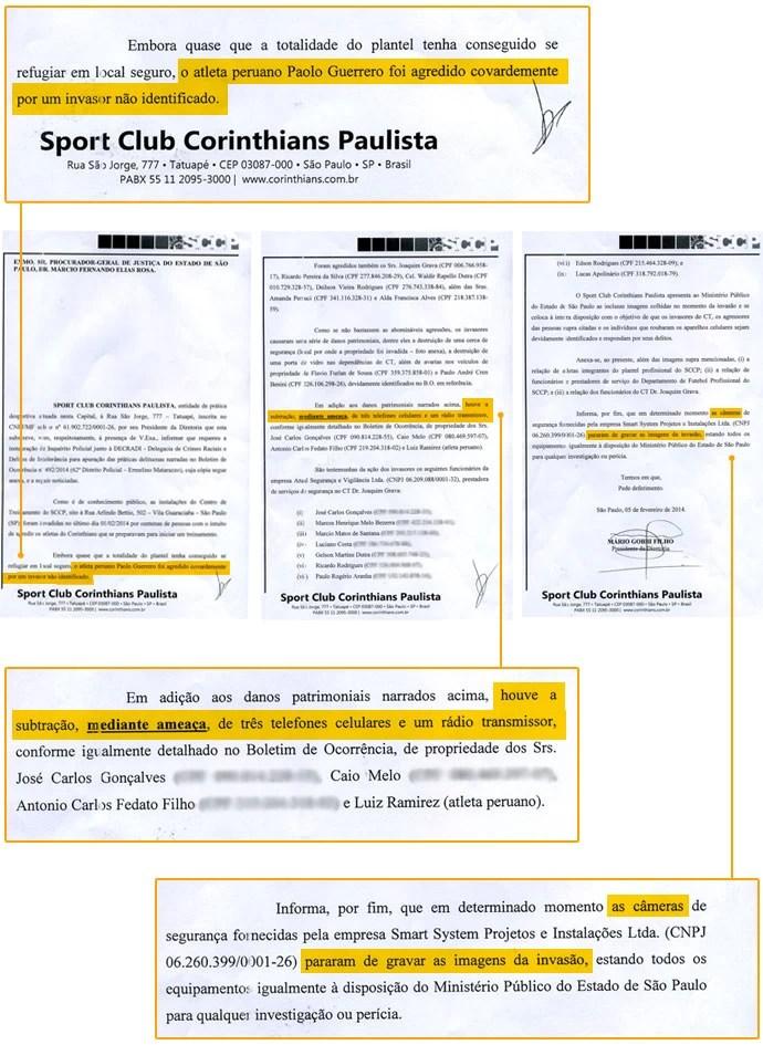 Documento invasão CT Corinthians polícia (Foto: Reprodução)