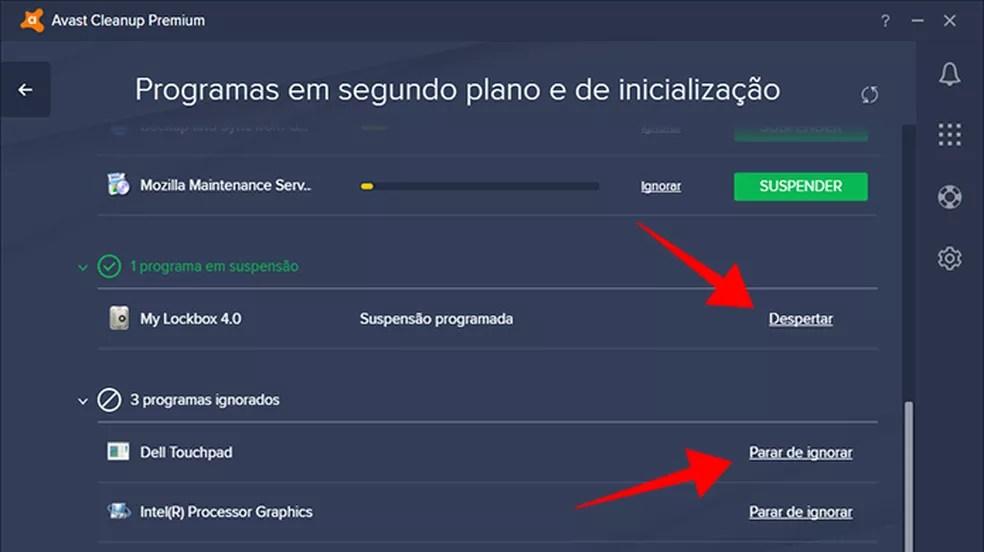 Cancele suspensões de itens ignorados no Avast Cleanup Premium (Foto: Reprodução/Paulo Alves)