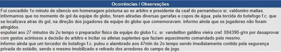 Registro feito pelo árbitro paulista Marcelo Aparecido de Souza (Foto: Reprodução / CBF)