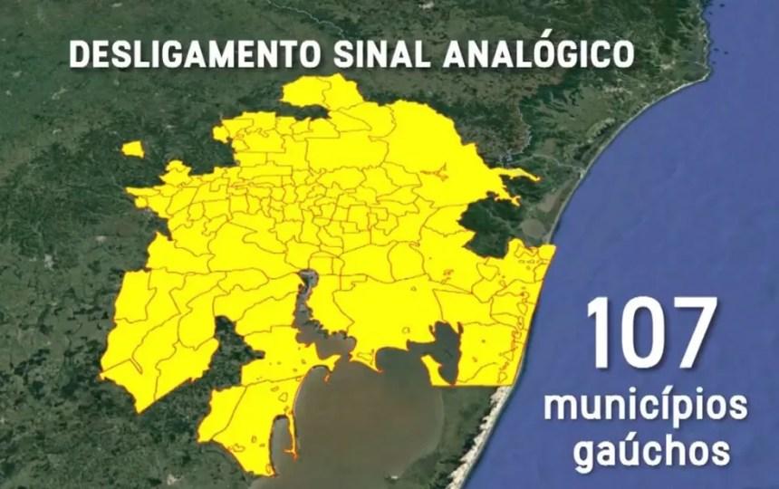 Mapa das cidades com desligamento previsto no Rio Grande do Sul (Foto: Reprodução/RBS TV)