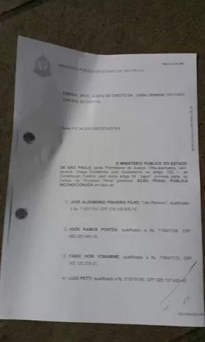Primeira página da denúncia contra o ex-presidente Lula encaminhada à Justiça pelo MP-SP (Foto: Reprodução)