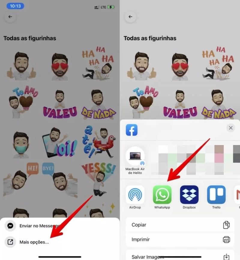 Saiba como compartilhar um avatar do Facebook no WhatsApp — Foto: Reprodução/Helito Beggiora