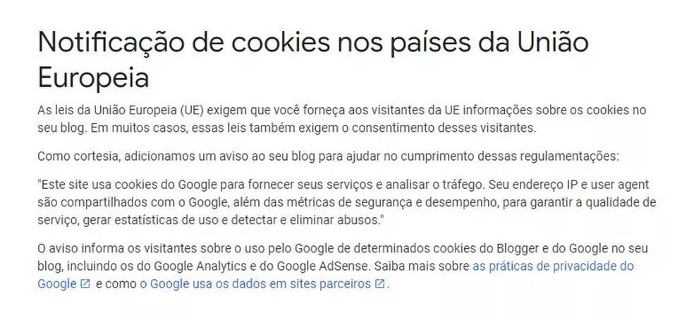 Gigante de Buscas atende à legislação da União Europeia e exibe aviso com a política de cookies aplicada aos serviços — Foto: Divulgação/Google