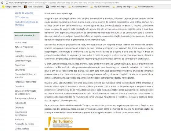 Em nota publicada em 2015, o MTur incentiva o turismo colaborativo, mas toma como exemplo uma prática ilegal: a não-remuneração de um chef de cozinha em um hostel (Foto: Reprodução)