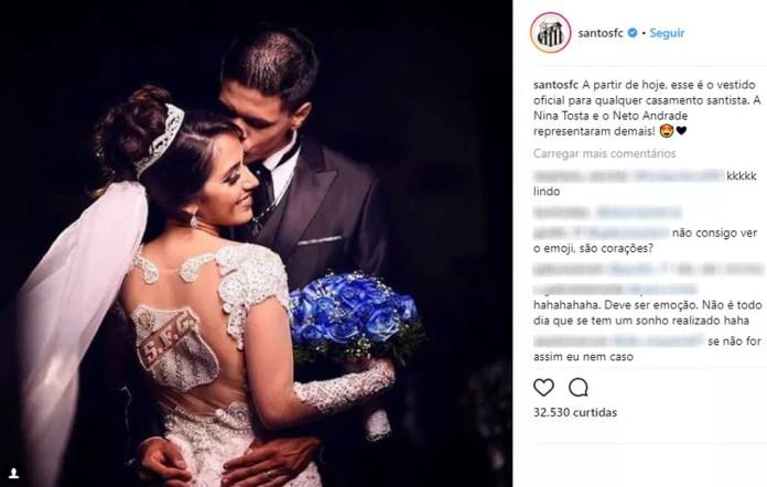 Santos postou foto do casal em rede social oficial do clube (Foto: Instagram / Reprodução)