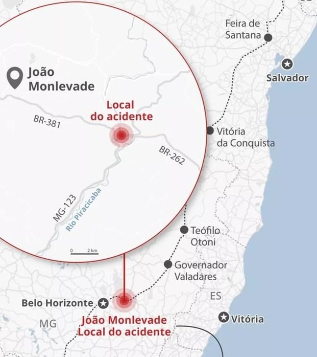 Local em João Monlevade com dois graves acidentes em pouco mais de um mês. — Foto: G1