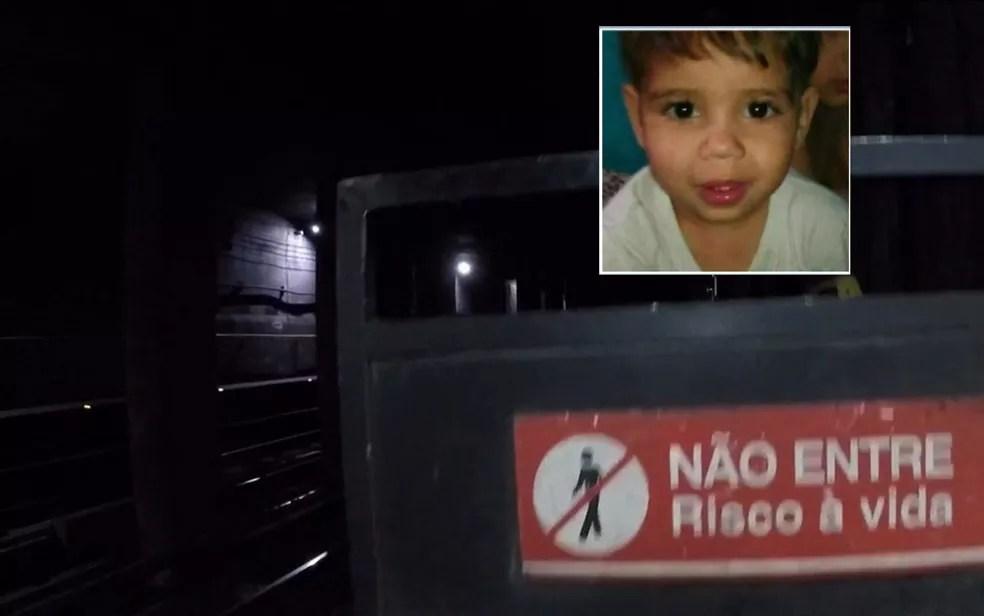 Corpo do menino Luan foi encontrado dentro do túnel do Metrô — Foto: TV Globo/Reprodução