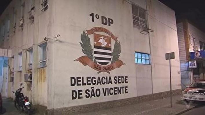 Caso foi registrado no 1º DP de São Vicente, SP — Foto: Reprodução/TV Tribuna