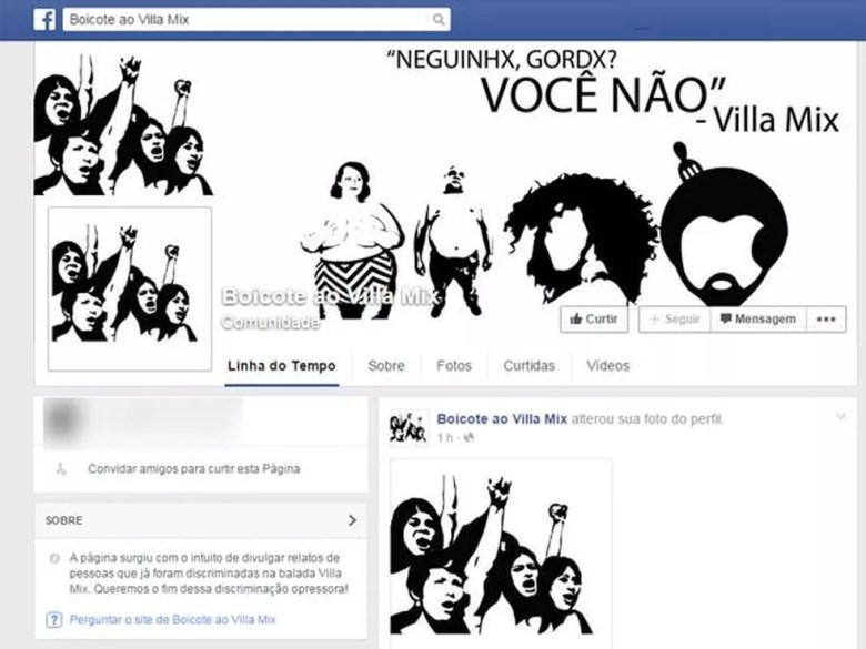 Página no Facebook reúne denúncias de discriminação na Villa Mix (Foto: Reprodução/Facebook)