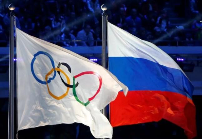 Bandeira russa e do COI — Foto: Divulgação