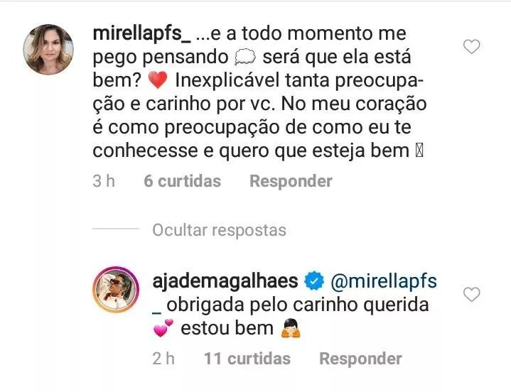 Jade Magalhães tranquiliza fãe diz que está bem (Foto: Reprodução / Instagram)