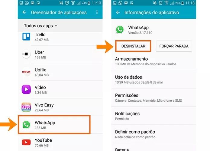 Desinstale o WhatsApp do celular para depois adicionar novamente (Foto: Reprodução/Barbara Mannara)