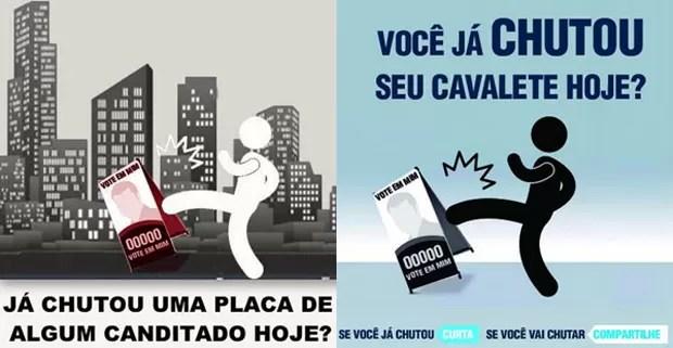 Campanha pede que usu[arios do Facebook chutem cavaletes de candidatos  (Foto: Reprodução)