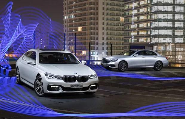 BMW Série 7 e Mercedes Classe E (Foto: Marcus Camargo)
