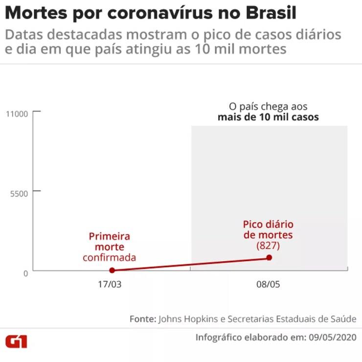 Gráfico mostra evolução do número de mortes no Brasil — Foto: Juliane Monteiro/G1