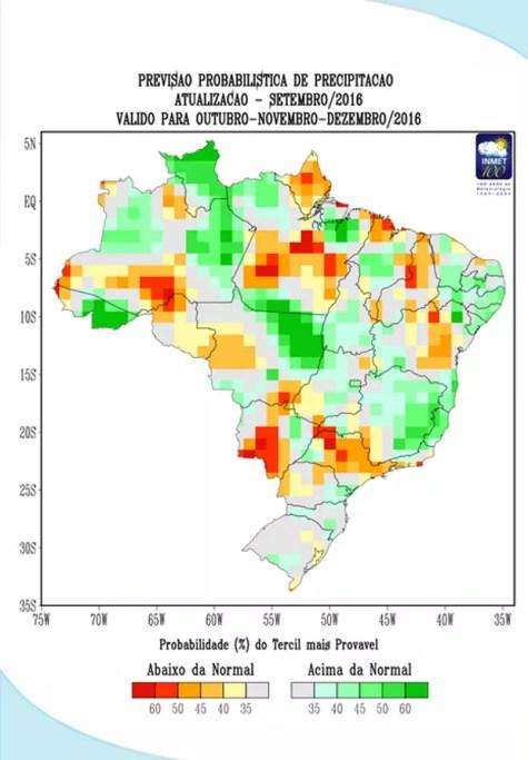Mapa mostra a previsão de chuvas para os próximos três meses no Brasil (Foto: Inmet/Reprodução)