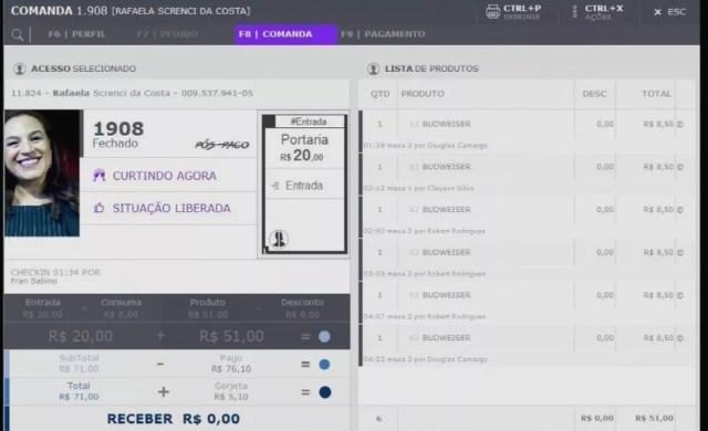 Ficha de consumação da motorista em casa noturna de Cuiabá — Foto: TVCA/Reprodução