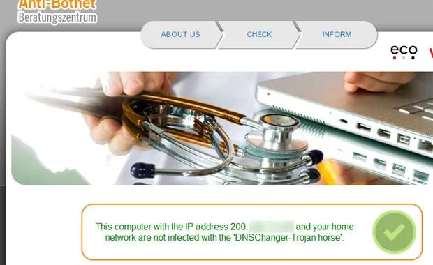 Site mostra que sistema não está infectado pelo DNSChanger (Foto: Reprodução)