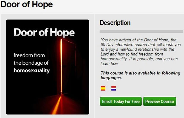 Imagem da descrição do curso que oferecia cura à homossexualidade, parte do aplicativo Setting Captives Free (Foto: Reprodução)