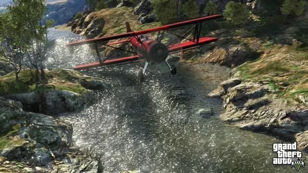 Avião sobrevoa rio em região afastada da cidade fictícia de Los Santos de 'GTA V' (Foto: Divulgação)