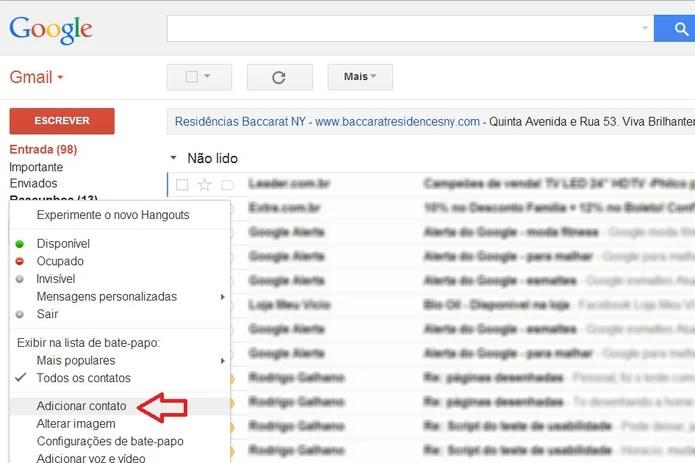 Adição de contatos no Gmail (Foto: Reprodução/ Marcela Vaz)