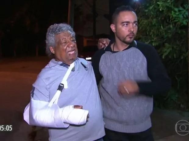 Pai de dentista chegou a ter o braço imobilizado (Foto: Reprodução / TV Globo)