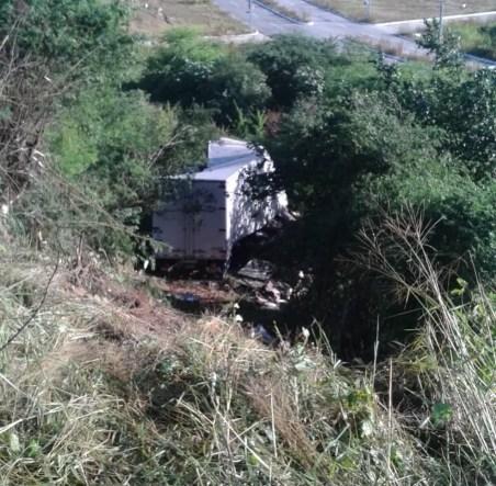 Caminhão cai em rinbanceira após acidente na BR-232 (Foto: Polícia Rodoviária Federal/ Divulgação )