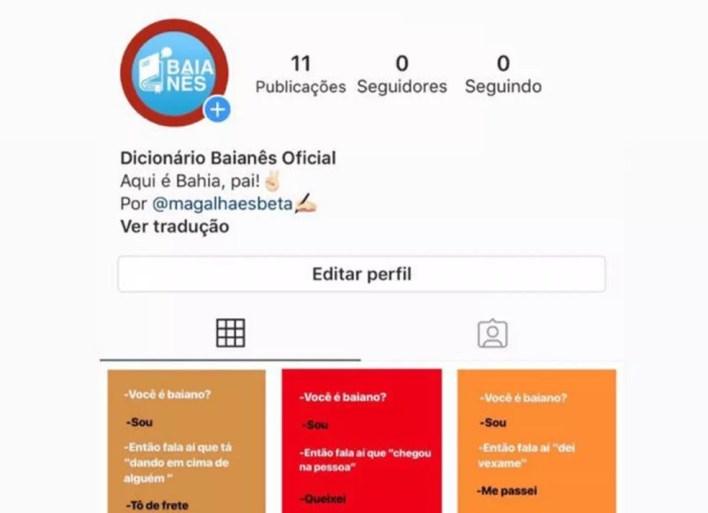 Página 'Baianês' quando foi criada, no dia 30 de julho — Foto: Reprodução/Instagram
