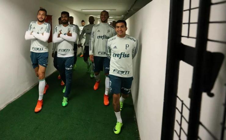 Jogadores do Palmeiras brincam no túnel do Pacaembu no treino de quinta (Foto: Cesar Greco / Ag. Palmeiras)