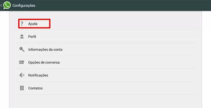 Nas configurações do WhatsApp, escolha o menu ajuda para saber se aplicativo está fora do ar (Foto: Reprodução/Elson de Souza)