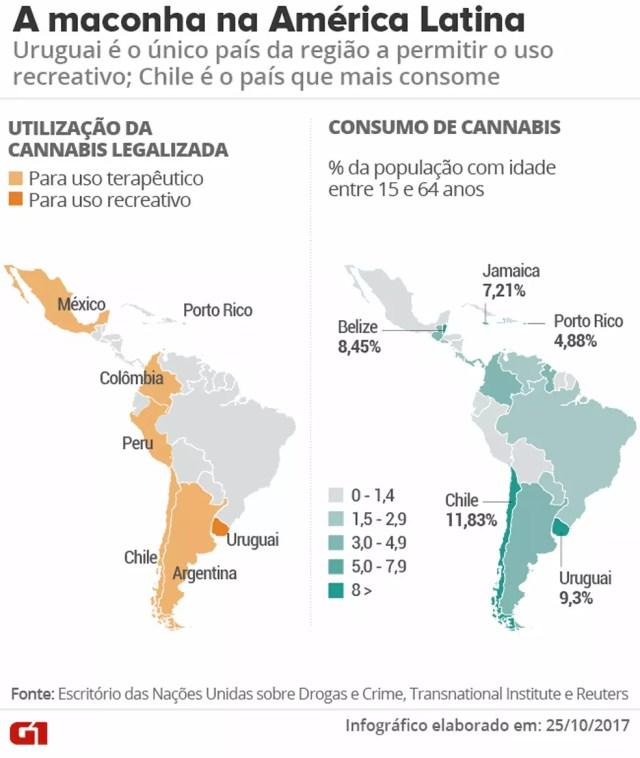 Maconha na América Latina: a situação dos países (Foto: Betta Jaworski/Arte G1)