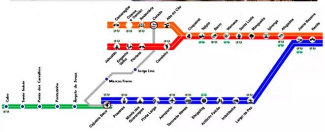 Mapa do Metrô do Recife — Foto: Reprodução/CBTU