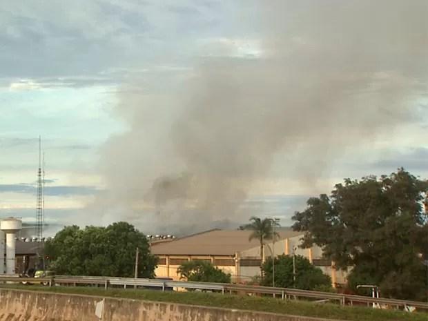Fumaça do incêndio pode ser vista de rodovia em Sertãozinho (Foto: Paulo Souza/EPTV)