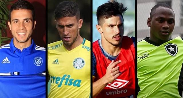 MONTAGEM - Nilmar (ex-Inter), Rafael Marques (Palmeiras), Willian (Cruzeiro) e Sassá (Botafogo) (Foto: Editoria de Arte)