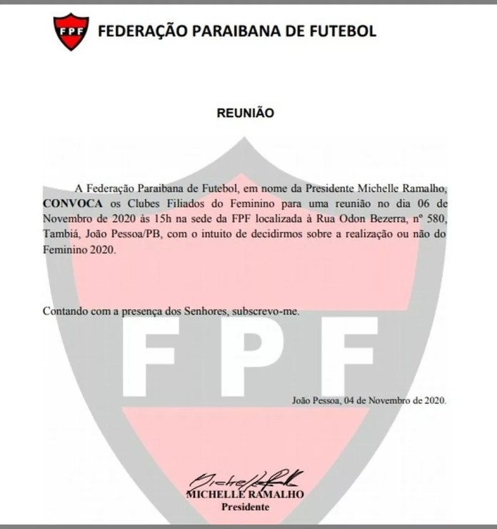 Convocação da FPF, assinada por Michelle Ramalho, aos clubes do futebol feminino — Foto: Reprodução / FPF