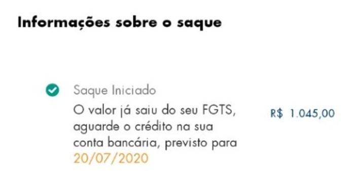 Mensagem recebida por Kyron Dias no app do FGTS — Foto: Arquivo pessoal