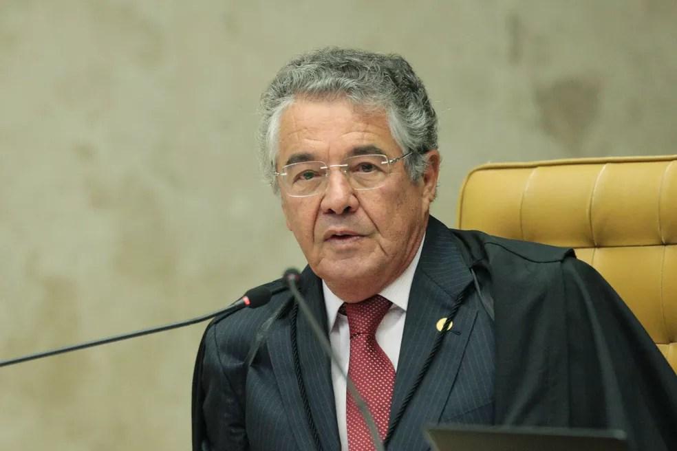 O ministro Marco Aurélio Mello durante sessão do Supremo Tribunal Federal (STF) — Foto: Carlos Moura/STF