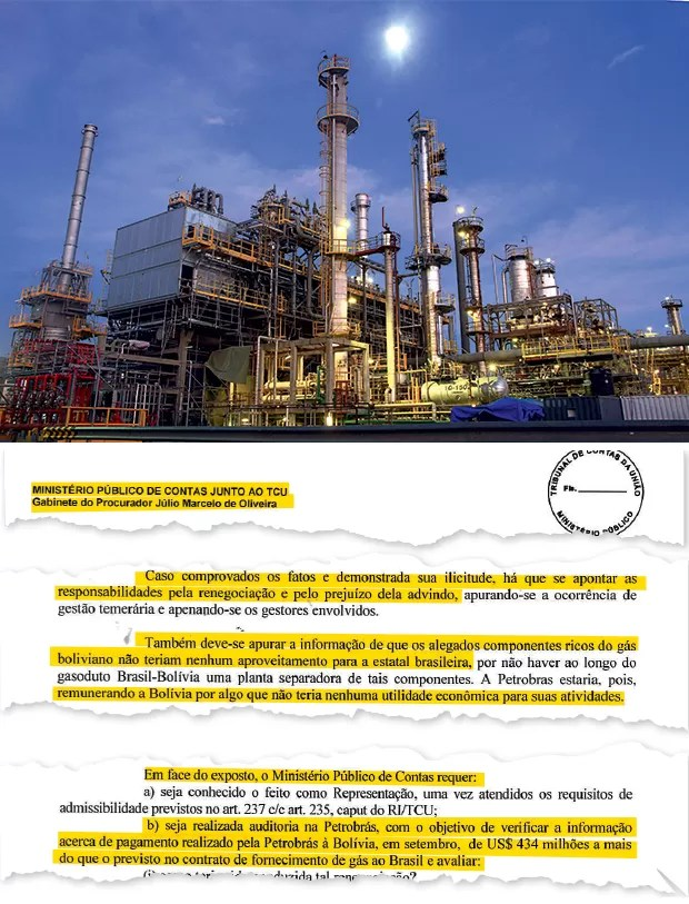 APURAÇÃO A refinaria  na Bolívia e o relatório dos procuradores (ao alto). Eles defendem  uma auditoria  na Petrobras (Foto: Jose Luis Quintana/LatinContent/Getty Images)