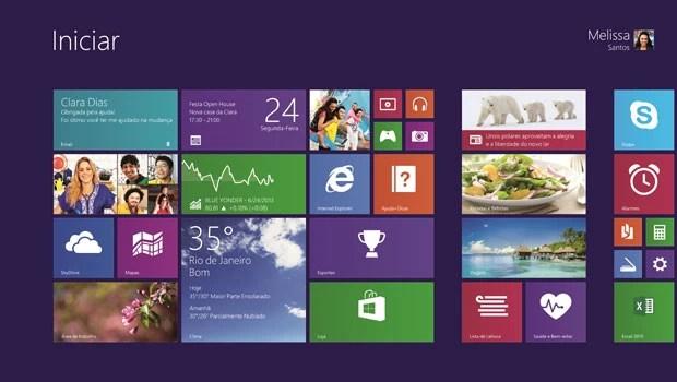 Tela inicial do sistema Windows 8.1, atualização do Windows 8 lançada no Brasil nesta quinta-feira (17). (Foto: Divulgação/Microsoft)
