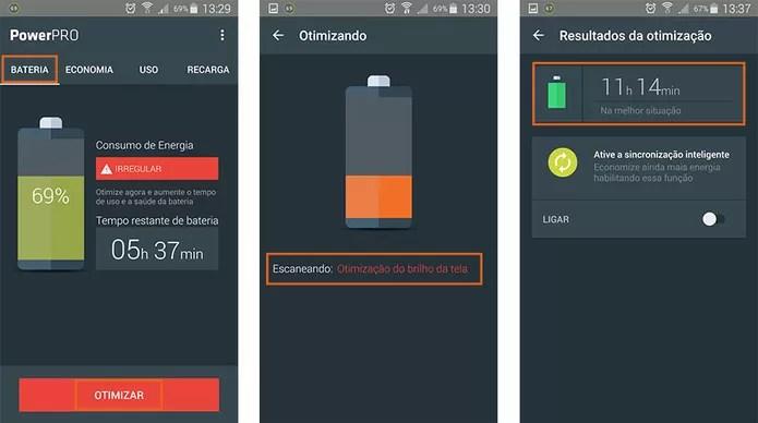 Aba do aplicativo PowerPro que permite otimizar o uso da bateria no Android (Foto: Reprodução/Barbara Mannara)