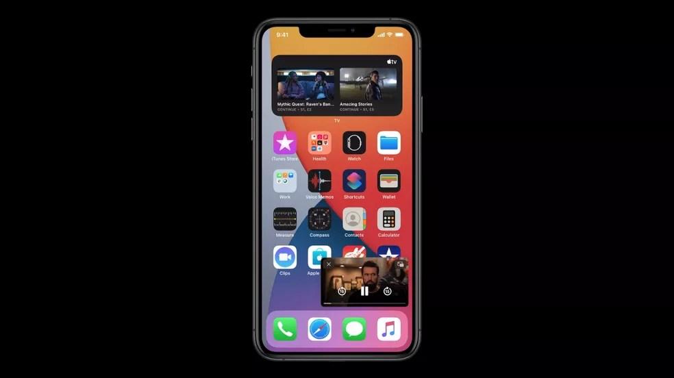 Recurso de Picture in Picture explorado no iOS 14 está disponível no Android desde a versão 8 (Oreo) — Foto: Reprodução/Apple