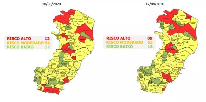 Comparativo entre o Mapa de Risco atual e o anterior — Foto: Divulgação/Governo ES