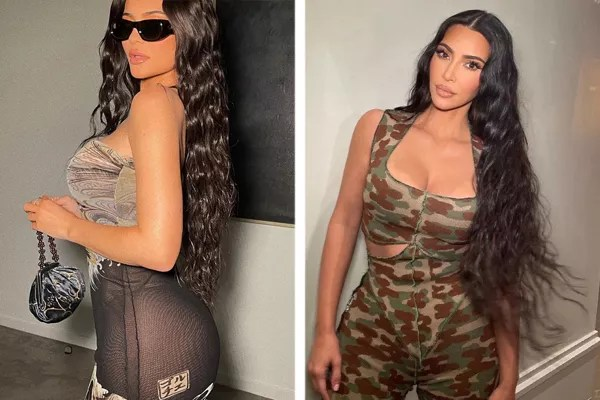 Left: Kylie Jenner in new photo with transparent dress; right, the socialite's older sister, Kim Kardashian (Photo: Reproduction/Instagram)