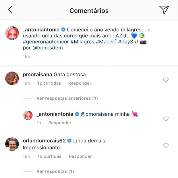 Orlando nos comentários de Antonia Morais (Foto: Reprodução/Instagram)