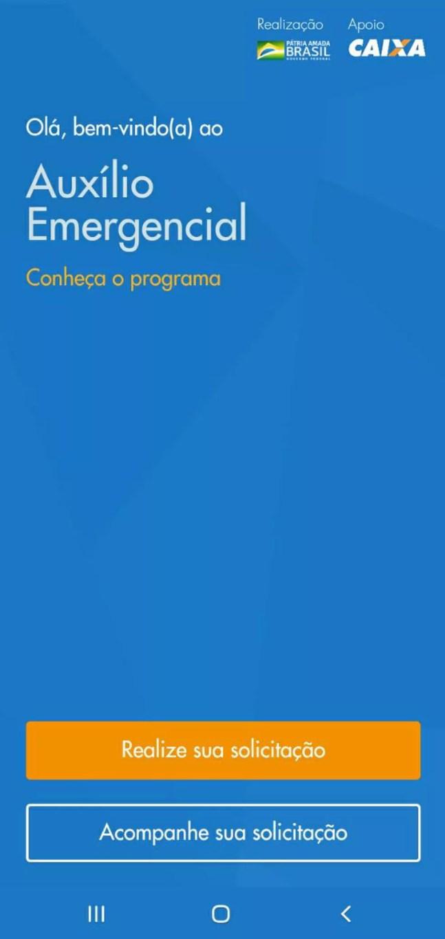 Página inicial do aplicativo da Caixa para cadastro no auxílio emergencial de R$ 600 — Foto: Reprodução